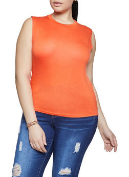 Plus Size Sleeveless High Low Top - 1916062702176
