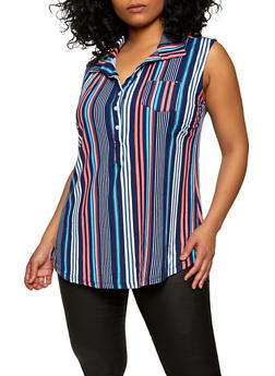 Plus Size Sleeveless Striped Half Button Top - 1916062702862