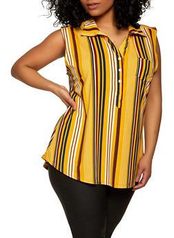 Plus Size Sleeveless Striped Half Button Top - 1916062702862
