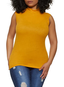 Plus Size Mock Neck Ribbed Top - 1916062702896