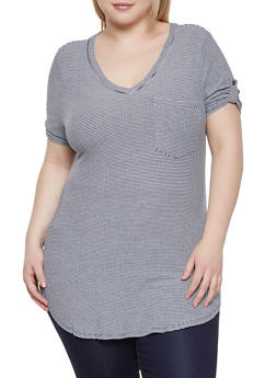 Plus Size Striped V Neck Tee - 1916074280504