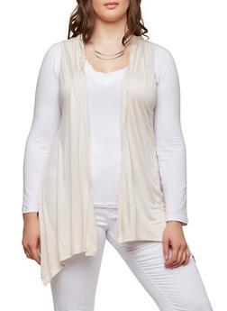 Plus Size Hooded Drape Front Cardigan - 1916074281107