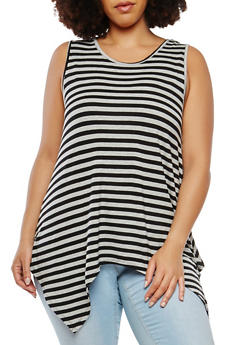 Plus Size Sharkbite Hem Tank Top - 1916074282005
