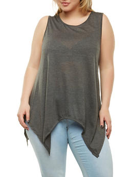 Plus Size Sharkbite Hem Tank Top - 1916074282007