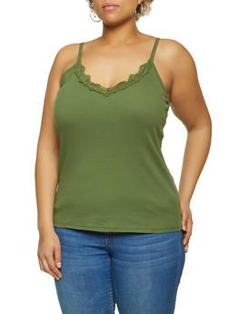 Plus Size Lace Trim Cami - 1916075172033