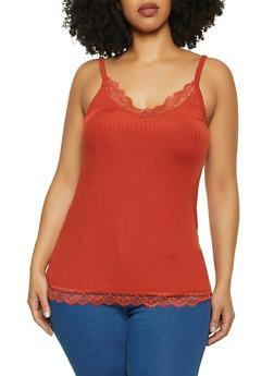 Plus Size Lace Trim V Neck Cami - 1916075174019