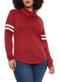 Plus Size Varsity Stripe Cowl Neck Top - 1917033874846