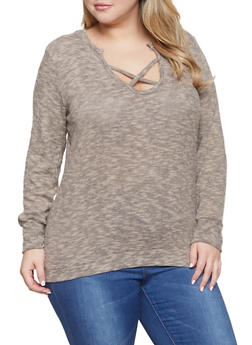 Plus Size Caged Sweater - 1917038343051
