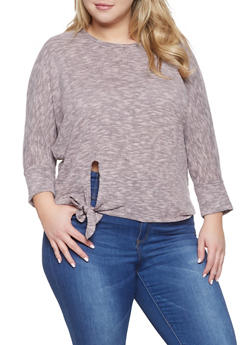 Plus Size Tie Front Sweater - 1917038343054