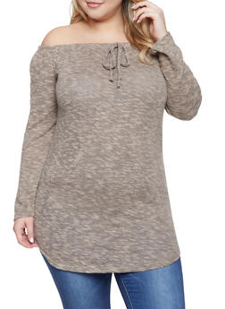 Plus Size Off the Shoulder Brushed Knit Sweater - 1917038343055