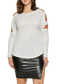 Plus Size Caged Long Sleeve Sweater - 1917038343134