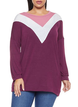 Plus Size Long Sleeve Chevron Tee - 1917038343175