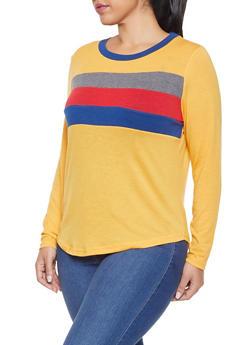 Plus Size Long Sleeve Color Block Detail Top - 1917038343179
