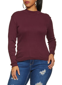 Plus Size Ribbed Mock Neck Top - 1917038344282
