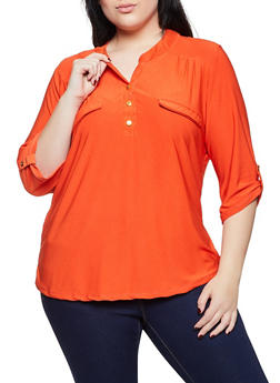 Plus Size Metallic Button Detail Top - 1917038344309