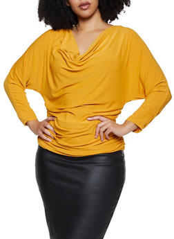 Plus Size Ruched Drape Neck Top - 1917038344311