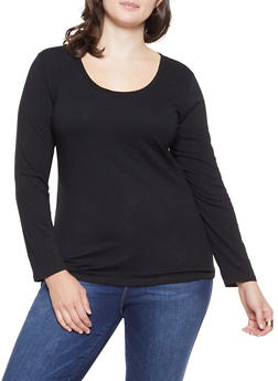 Plus Size Basic Long Sleeve Tee - 1917054260006