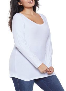 Plus Size Basic Long Sleeve Tee - 1917054260006