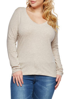 Plus Size Solid V Neck Top - 1917054260062