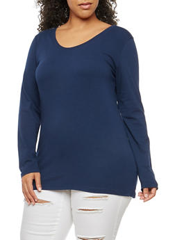 Plus Size Basic Scoop Neck Top - 1917054260076