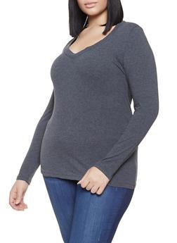 Plus Size Basic V Neck Tee - 1917054260900