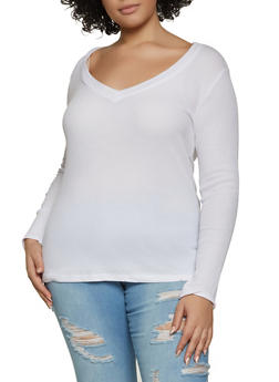 Plus Size V Neck Thermal Top - 1917054261298