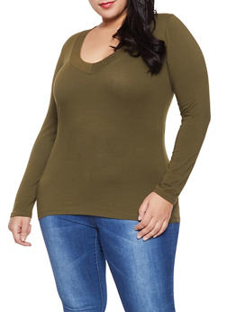 Plus Size Basic Long Sleeve Tee - 1917054266157