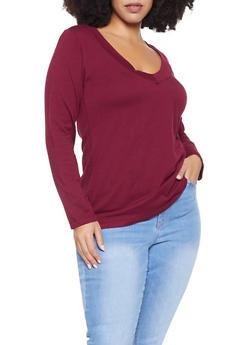 Plus Size Basic Long Sleeve Tee - 1917054266157
