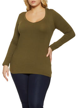 Plus Size V Neck Long Sleeve Tee - 1917054266699
