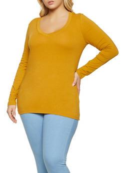 Plus Size V Neck Long Sleeve Tee - 1917054266699