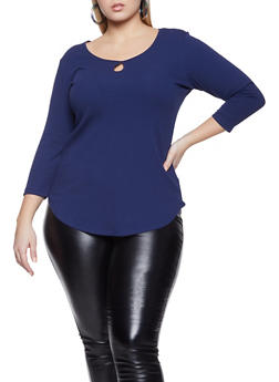 Plus Size Rib Knit Keyhole Scoop Neck Top - 1917054266871