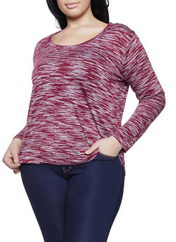 Plus Size Long Sleeve Marled Top - 1917054266873