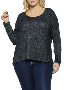 Plus Size Brushed Knit Scoop Neck Top - 1917054267054