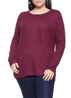 Plus Size Brushed Knit Long Sleeve Top - 1917054267055