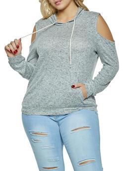 Plus Size Brushed Knit Hooded Cold Shoulder Top - 1917054267066