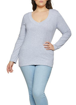Plus Size Long Sleeve V Neck Tee | 1917054267200 - 1917054267200