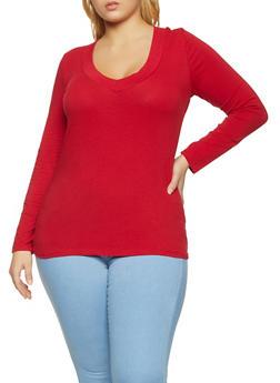 Plus Size Long Sleeve V Neck Tee | 1917054267200 - 1917054267200