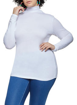 Plus Size Ruched Turtleneck Top - 1917054267226