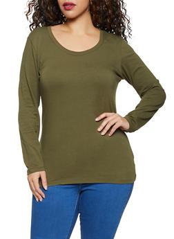 Plus Size Scoop Neck Long Sleeve Tee - 1917054267766