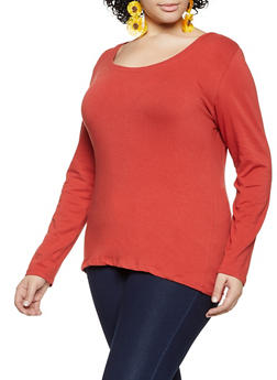 Plus Size Scoop Neck Long Sleeve Tee - 1917054267766