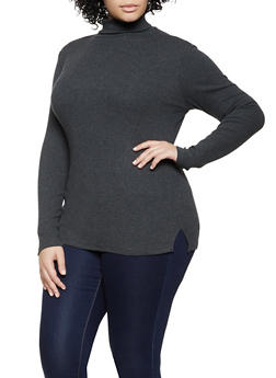Plus Size Long Sleeve Rib Knit Turtleneck Sweater - 1917054267934