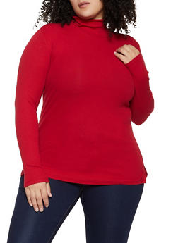 Plus Size Long Sleeve Rib Knit Turtleneck Sweater - 1917054267934