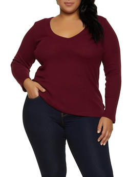 Plus Size Thermal V Neck Top - 1917054268292