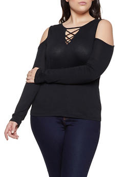 Plus Size Caged Cold Shoulder Long Sleeve Top - 1917054269775
