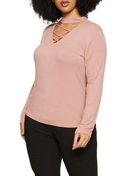 Plus Size Choker Neck Ribbed Knit Top - 1917054269803