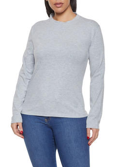 Plus Size Long Sleeve Solid Tee - 1917062702082