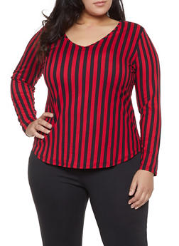 Plus Size Long Sleeve Striped Tee - 1917074280052