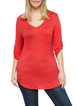 Plus Size Tabbed Sleeve Basic Top - 1917074280113