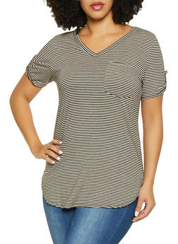 Plus Size Tabbed Sleeve Striped Tee - 1917074280411
