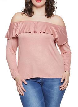 87d590eb24883 Plus Size Off the Shoulder Top - 1917074280601